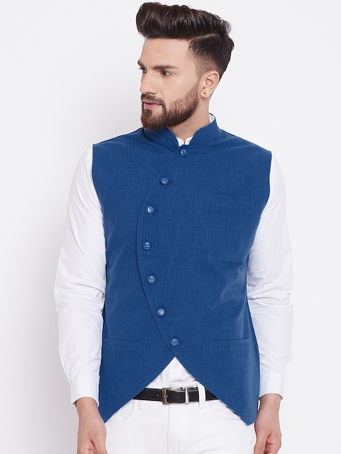 Hypernation Men Blue Solid Woven Nehru Jacket