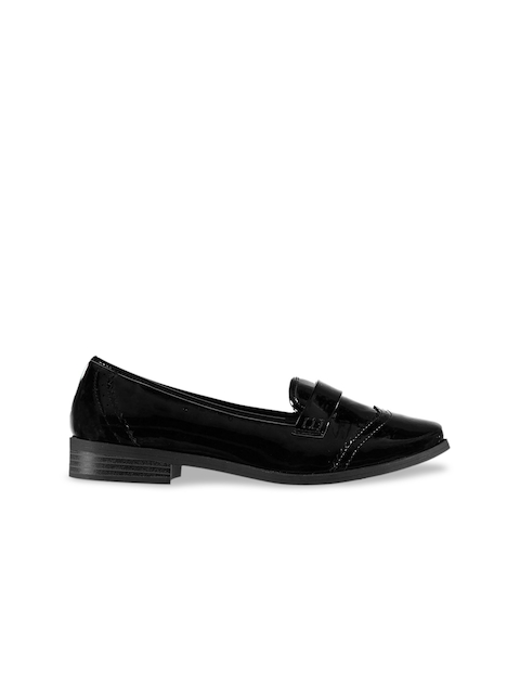 Miso Girls Black Solid Loafers