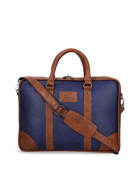 Leather World Unisex Blue & Tan Solid Laptop Bag