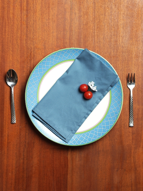 India Circus by Krsnaa Mehta Set of 6 Teal Blue Solid Table Napkins