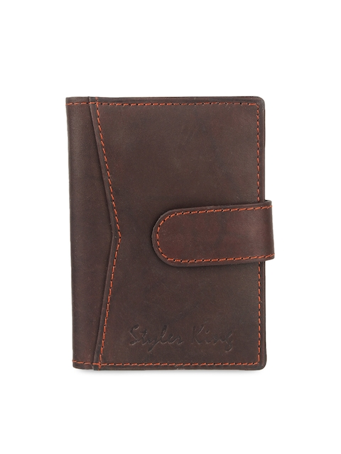 STYLER KING Men Brown Solid Leather Card Holder