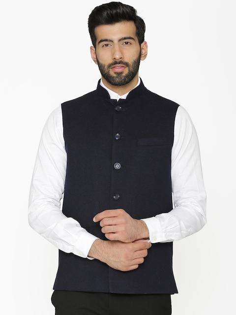 Wintage Men Black Woven Design Nehru Jacket
