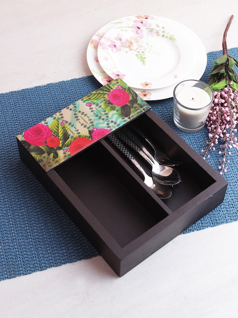 India Circus by Krsnaa Mehta Multicoloured Printed Wooden Cutlery Holder