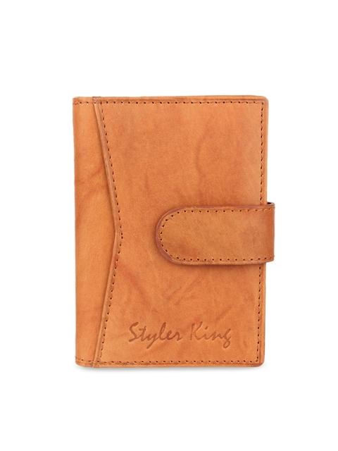 STYLER KING Men Tan Orange Solid Leather Card Holder