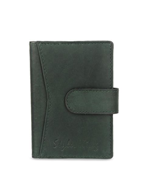 STYLER KING Men Green Solid Leather Card Holder