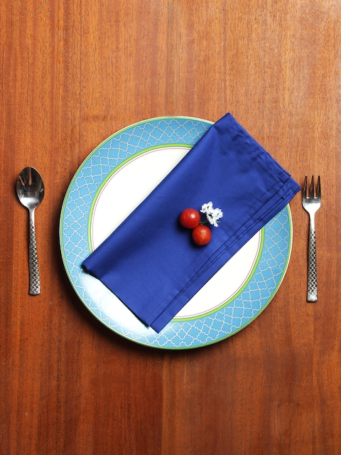 India Circus by Krsnaa Mehta Set of 6 Blue Solid Table Napkins