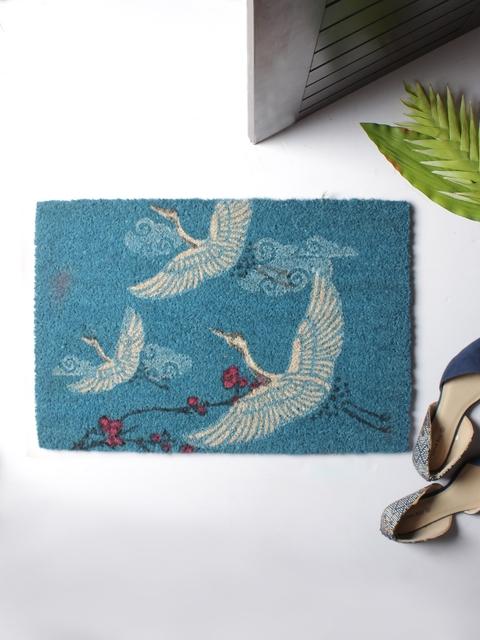 India Circus by Krsnaa Mehta Blue & White Rectangular Anti-Skid Coir Doormat