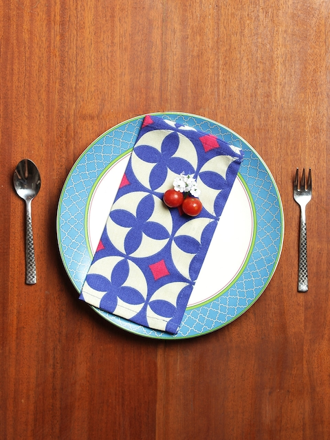 India Circus by Krsnaa Mehta Set of 6 Blue & Cream-Coloured Printed Table Napkins