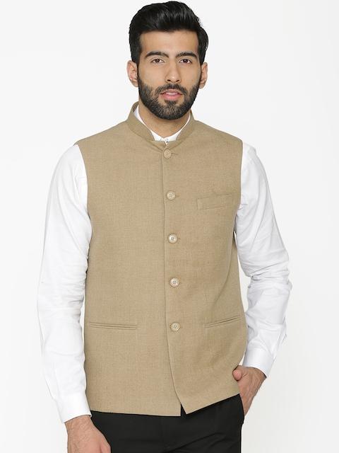Wintage Men Beige Solid Nehru Jacket