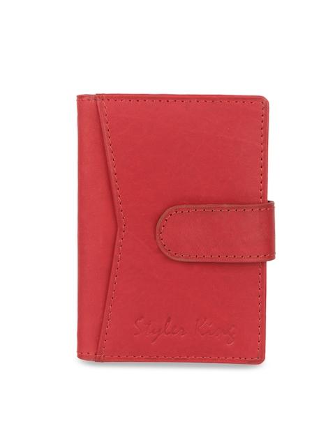 STYLER KING Men Red Solid Leather Card Holder