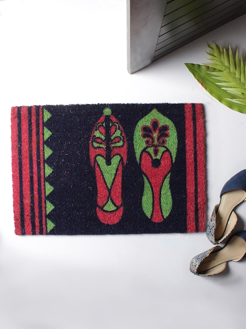 India Circus by Krsnaa Mehta Multicoloured Rectangular Anti-Skid Coir Doormat
