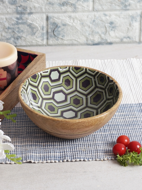 India Circus by Krsnaa Mehta Lime Green & Brown Printed Wooden Serving Bowl