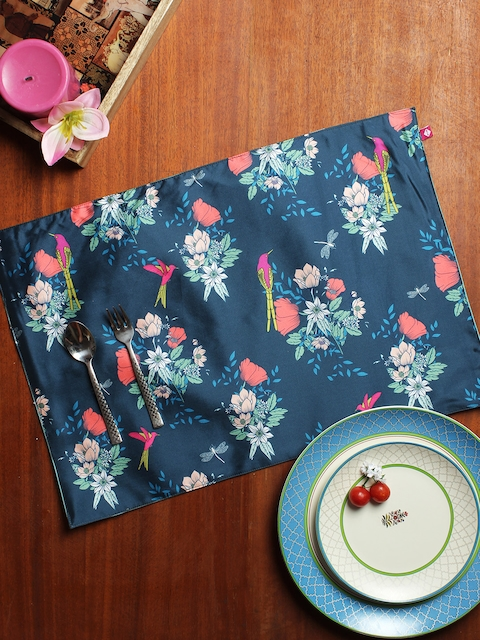 India Circus by Krsnaa Mehta Set of 6 Blue Floral Printed Table Mats