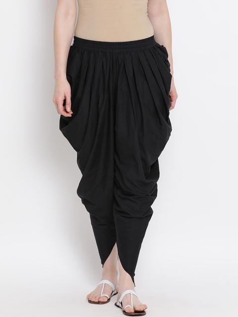 FABNEST Women Black Solid Straight-Fit Salwar