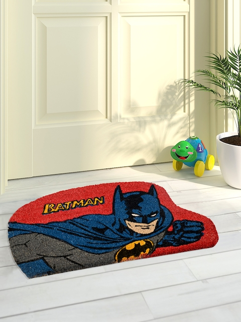 Saral Home Blue & Red Batman Printed Coir Anti-Skid Doormat