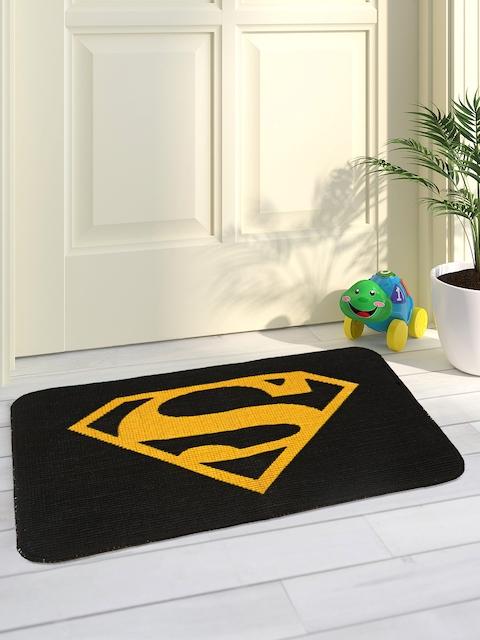 Saral Home Yellow & Black Superman Printed Jute-Cotton Anti-Skid Doormat
