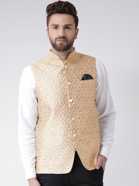 Hangup Men Beige Woven Design Linen Nehru Jacket
