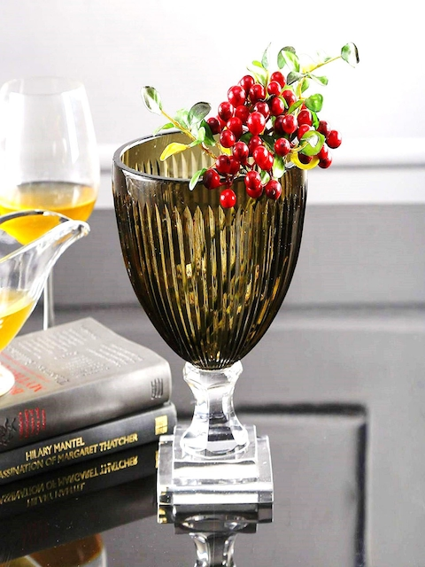 SWHF Green Crystal Glass Flower Vase