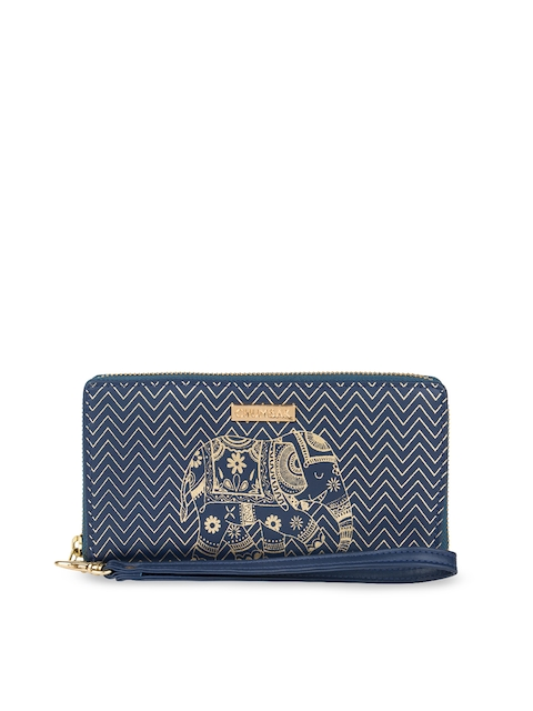 Chumbak Women Navy Blue Printed Zip Around Wallet