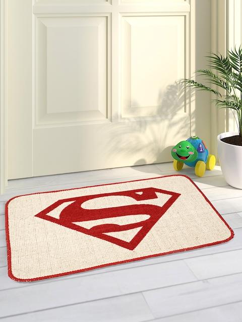Saral Home Red & Beige Printed Jute-Cotton Anti-Skid Doormat
