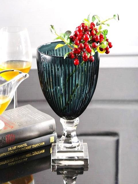 SWHF Blue Crystal Glass Flower Vase