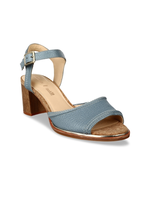 Clarks Women Blue Solid Leather Sandals