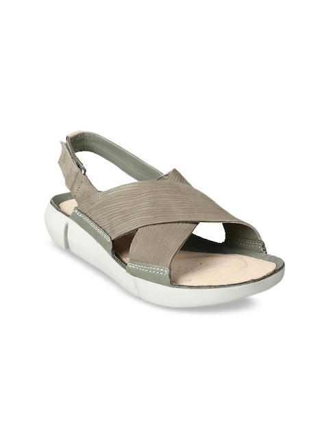 Clarks Women Green Solid Leather Sandals