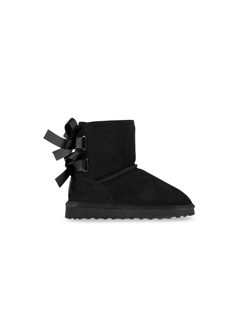 SoulCal Girls Black Solid Leather Mid-Top Flat Boots
