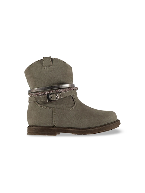 Miso Girls Taupe Solid Synthetic High-Top Flat Boots