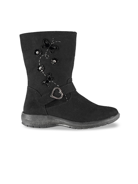 Miso Girls Black Solid Textile High-Top Flat Boots