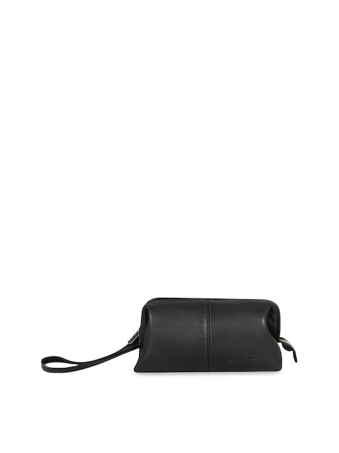 Calfnero Unisex Black Leather Travell Pouch