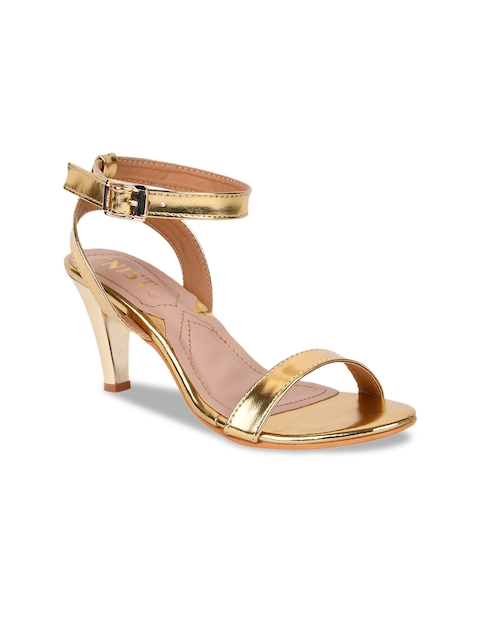 GNIST Women Gold-Toned Solid Sandals