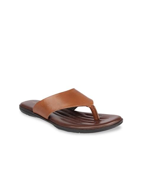 Egoss Men Tan Brown Leather Sandals