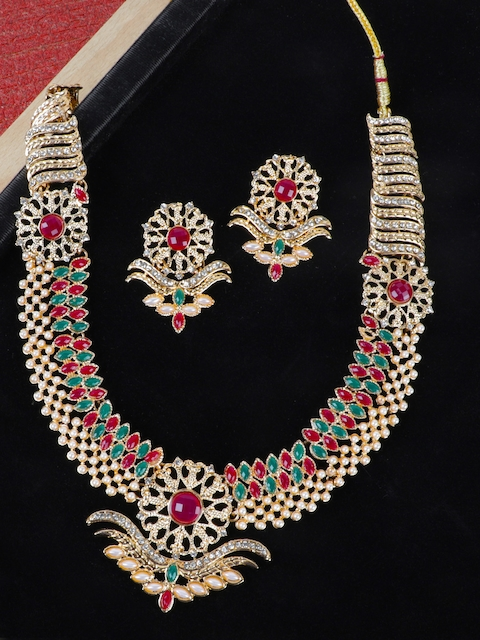 Crunchy Fashion Women Gold-Plated, Red & Green Stone-Studded Jewellery Set