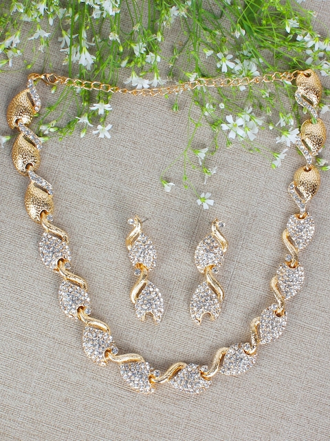 Crunchy Fashion Women Gold-Plated & White Stone-Studded Jewellery Set