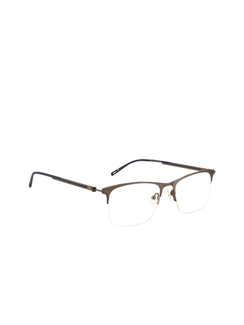 Ted Smith Unisex Grey Solid Half Rim Wayfarer Frames TS-246_C2