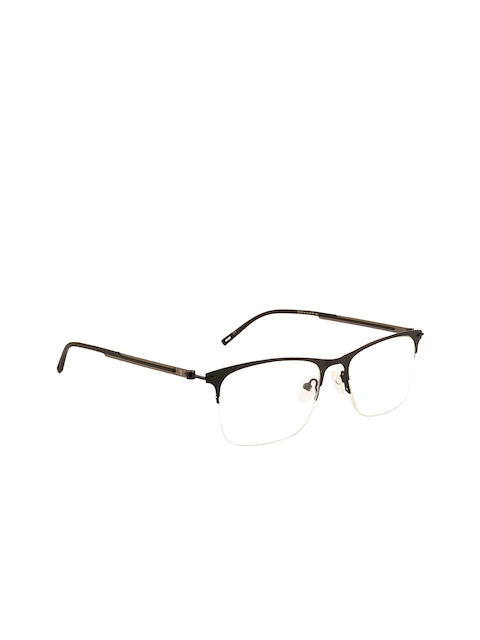 Ted Smith Unisex Black Solid Half Rim Wayfarer Frames TS-246_C1