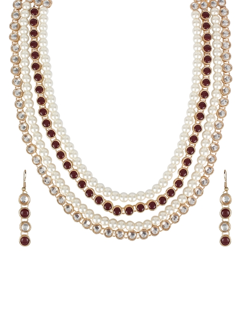 Crunchy Fashion Women Gold-Plated & Stone & Pearl Studded Jewellery Set