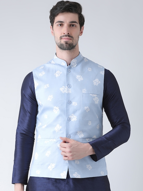 Deyann Men Blue Printed Nehru Jacket