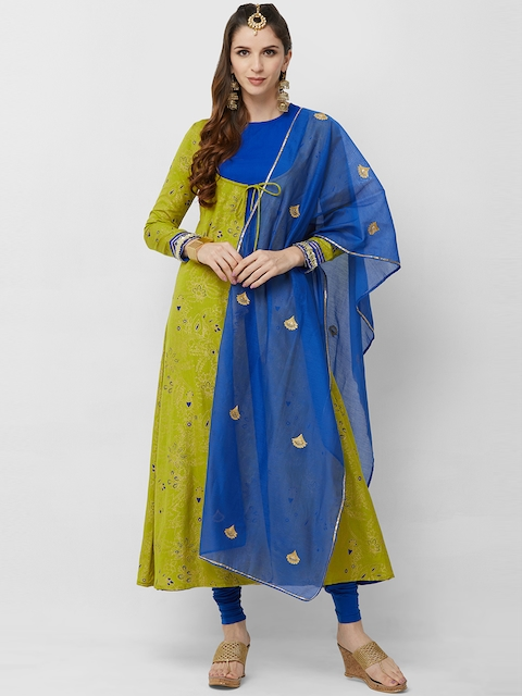 breya Blue & Gold-Toned Embroidered Dupatta