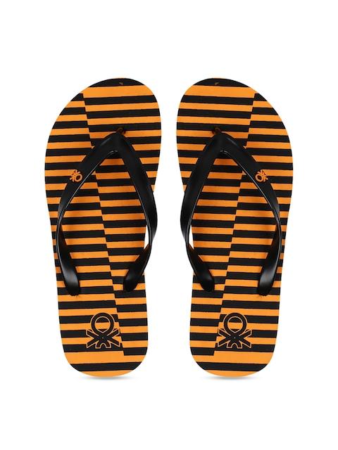 United Colors of Benetton Men Orange & Black Striped Thong Flip-Flops
