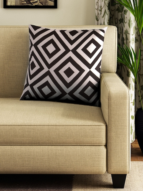 BOMBAY DYEING Unisex Brown & Off-White Single Square Floor Cushion