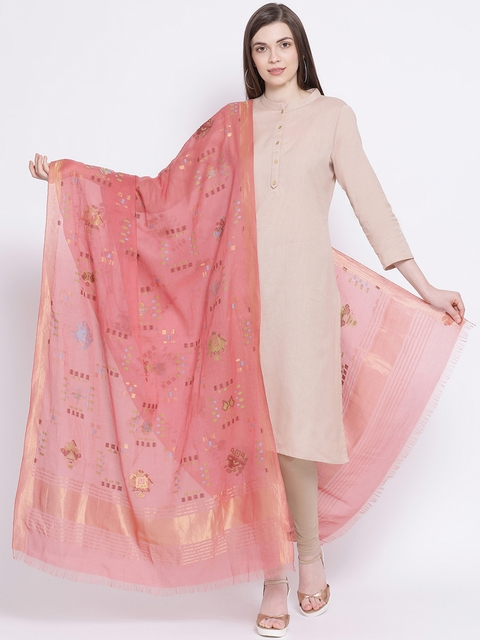 SHINGORA Pink Woven Design Dupatta