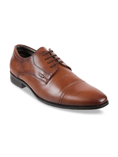 Metro Men Brown Solid Leather Formal Derbys