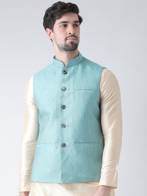 Deyann Men Blue Self Design Nehru Jacket
