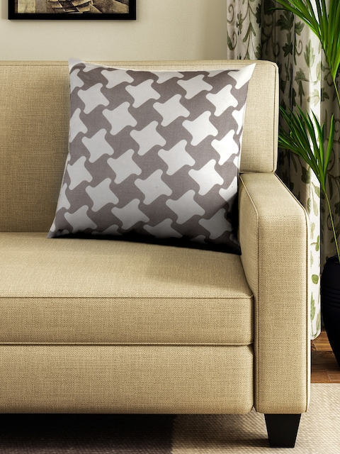 BOMBAY DYEING Unisex Grey & Brown Single Square Floor Cushion