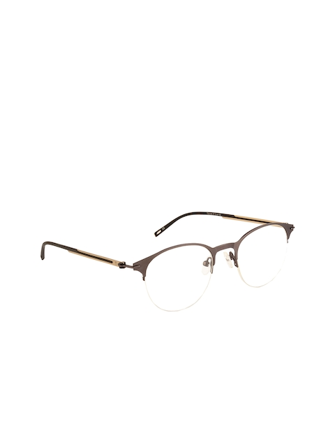 Ted Smith Unisex Grey Solid Half Rim Round Frames TS-248_C3