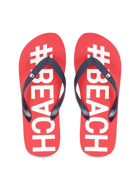 United Colors of Benetton Men Red & White Printed Thong Flip-Flops