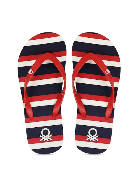 United Colors of Benetton Men Navy Blue & Red Striped Thong Flip-Flops