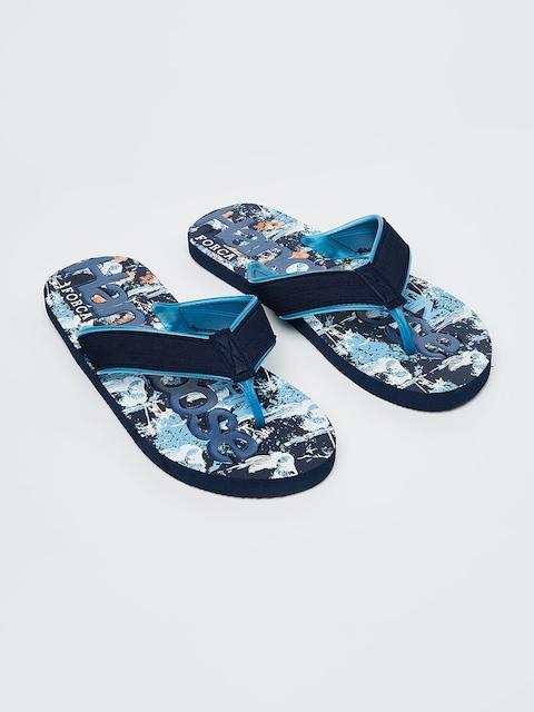 Forca Men Navy Blue Printed Thong Flip-Flops